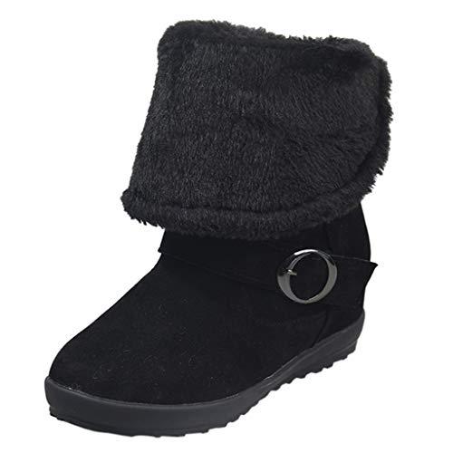 ❤ Inawayls❤ Damen Kurzschaft Stiefel Plüsch Gefütterte Classics Halbschaft Stiefel & Stiefeletten Warm Schneestiefel mit Suede