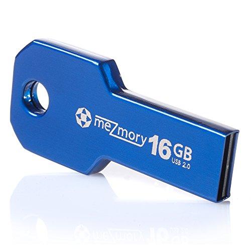 USB-Stick 16GB 2.0 Schlüssel-Form Mini ** Wasserdicht & Schnell ** Extrem Robust aus Metall ( Edelstahl ) ** Ideal für Schlüssel-Anhänger ** in Blau by meZmory ®