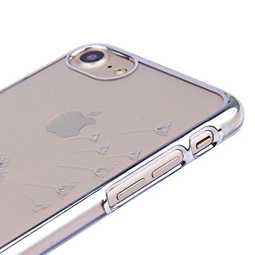 FESELE Custodia iPhone 7 Cover,iPhone 7 Custodia Trasparent in PC Cover,Sparkles Cristallo Ultra Sottile Cover Glitter Custodia per iPhone 7,Rigida Custodia con Lusso Placcatura Telaio e Elegante Bell Argento Dente di leone