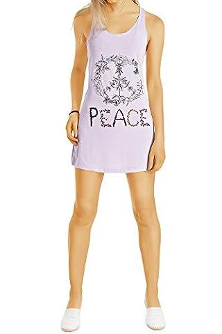 Bestyledberlin Damen Minikleid, Print Tanktops, kurzes Kleid, Longtops t44z L/XL flieder
