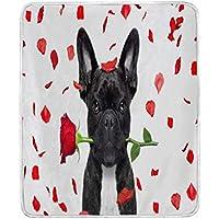 Use7 Home Decor - Manta para sofá de Cama, diseño de Bulldog francés con Flores