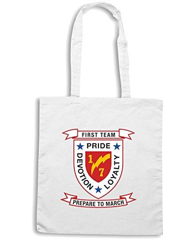 T-Shirtshock - Borsa Shopping TM0303 1st Battalion 7th Marine Regiment USMC usa Bianco