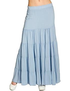 Caspar RO020 Falda Plisada Larga para Mujer/Falda de Verano con Pretina Elástica, Color Azul;Tamaño:L/XL