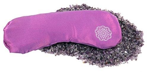 INNER JEWELS Aromatherapie Set MEDITATION, Weiches Augenkissen, Feine Seide mit Halbedelsteinen und Aromamischung, orchidee-lila, Rosenquarz-Lavendel-Füllung, für Yoga, Entspannung & Meditation, Geschenk Set