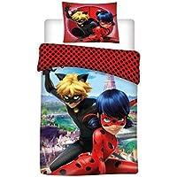 Ladybug Miraculous Parure de lit Housse de Couette Set lit Simple et taie d'oreiller 160x 200Coton Original Parure de lit