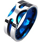 Konov Jewellery Mens Stainless Steel Ring, 8mm Classic Band, Color Blue Silver (with Gift Bag)