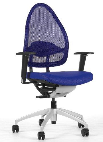 Topstar Open Base 10, Design- und Komfort-Drehstuhl, Bürostuhl, Schreibtischstuhl, inkl. Armlehnen, blau