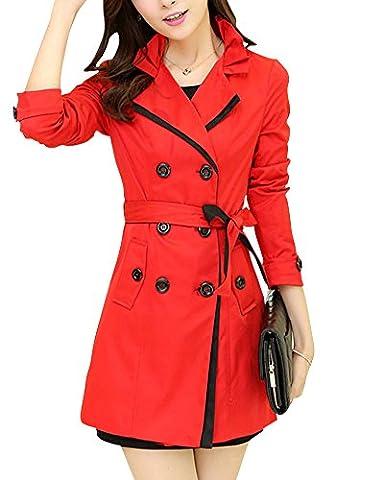 Damen Elegante Spitze Schlank Jacke Mantel Lange Trenchcoat Guertel Windbreaker Rot M