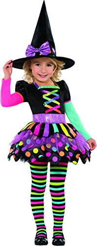 Buntes Hexenkostüm Happy Halloween für Mädchen 104/116 (4-6 (Kostüm Hexe Halloween Für)