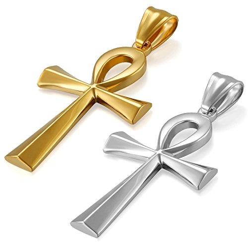 JewelryWe Schmuck 2pcs Edelstahl Ägypten Ägyptisches Zeichen Anch o. Ankh Kreuz Anhänger mit 50cm Kette, Halskette für Herren Damen, Gold Silber