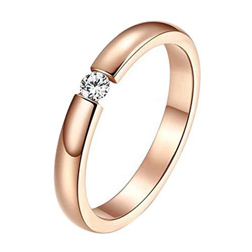 wuayi Damen-Ring-Set für Paare, stilvoll, schlicht, Diamant, Roségold, Oberfläche, für Kleid, Dekoration, Hochzeit, Schmuck, Geschenk, günstig 10# C