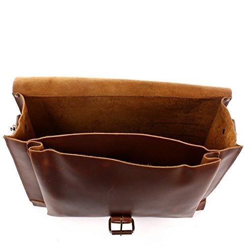 LECONI Messenger Bag DIN A4 Aktentasche Damen Herren Ledertasche Vintage Leder 38x29x11cm LE3054 Mittelbraun