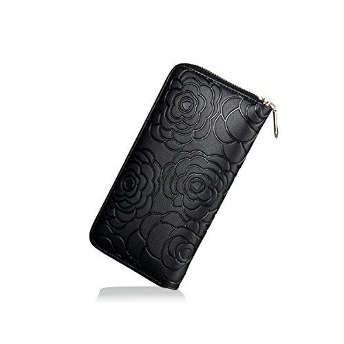 Portafogli Per Le Donne Rfid Bloccaggio Holder Di Carta Di Credito Wristlet Portafoglio In Pelle Di Cuoio Black