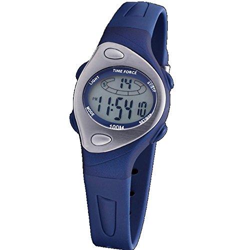 Time Force TF-3184B03 Montre à affichage numérique pour femme avec bracelet en caoutchouc/fonction d'alarme/chronographe/rétroéclairage Étanche à l'eau Bleu