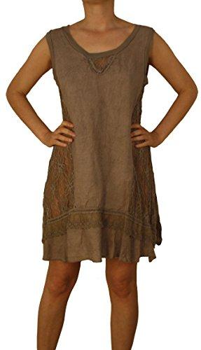 8091 AO Mesdames Robe en lin les femmes tunique dames robe de plage de lin blanc beige bleu vert brun noir M L XL XXL. Marron