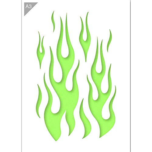 QBIX Flammenschablone - Plastik - A3 42 x 29,7cm - Flammenhöhe 36 cm - Wiederverwendbare kinderfreundliche Schablone für Malerei, Handwerk, Wände und Möbel