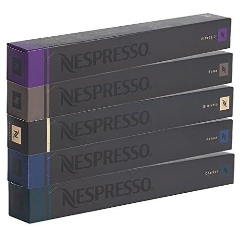 Nespresso Intenso Kapseln - 50 Stück - Dharkan - Kazaar - Ristretto - Roma - Arpeggio