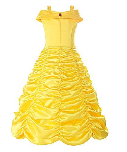 Halloween Kostüm Fee Dunkle - ReliBeauty Mädchen Kleider Brosche Prinzessin Kleid Belle Einfarbig Drop Shoulder Falten Rock Cosplay Kostüme, Gelb, 98(Etikett 100)