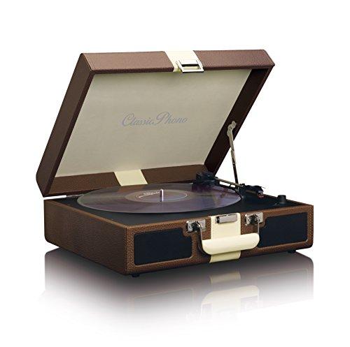 Classic Phono TT-33 Koffer-Plattenspieler im Retro-Stil, Kunstlederoberfläche, AUX-Eingang braun