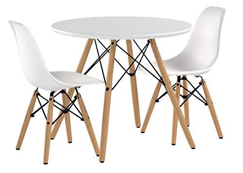 Buschman Ensemble Table et chaises pour Enfants Meubles Modernes pour Enfants Table de Jeu Tendance avec chaises incurvées Plastique moulé sans accoudoir, Table Ronde en Bois et Base en Acier Blanche