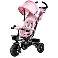 Kinderkraft Tricycle Aveo Trike Stroller Buggy for Kids with Swivel Seat Sun Canopy Removable Parent Handle Footrest Pedal Free Wheel Accessories Cup Holder Bag Bell from 9 Months to 5 Years Pink