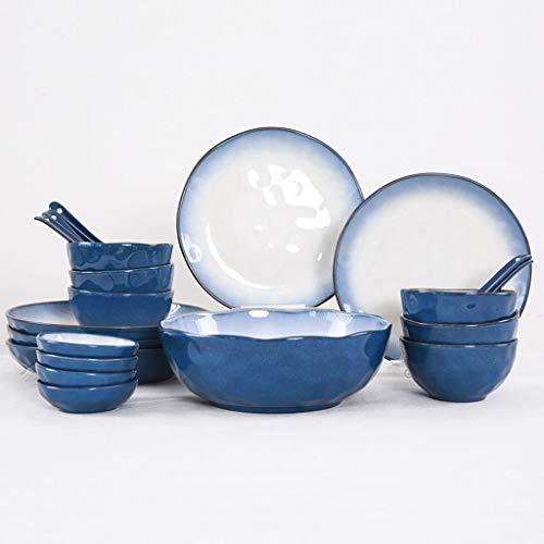 22 ensembles de plats en céramique, assiette de ménage chinoise, bol, vaisselle ensemble, adapté aux fours à micro-ondes, fours, lave-vaisselle (Couleur : Bleu)