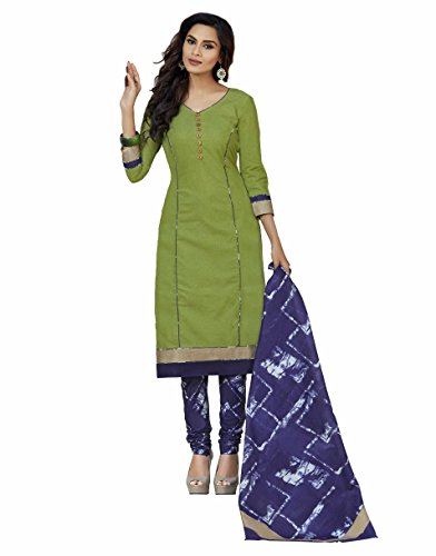 Miraan Women\'s Cotton Unstitched Dress Material(SAN8017_Green_Free Size)