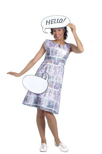 Imagen de cesar  disfraz de dibujos animados de los 70 con bocadillos de cómic para mujer adulto , talla 42/44 cm