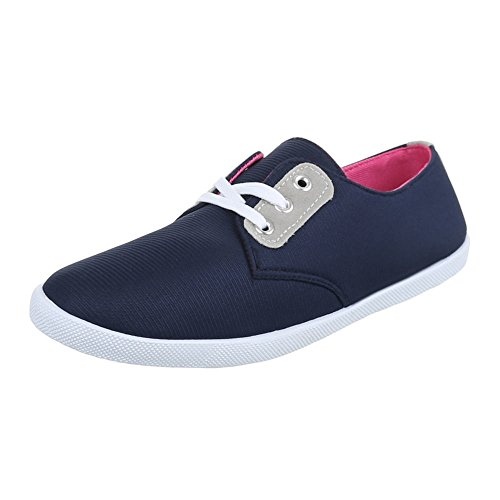 Low-Top Sneaker Damenschuhe Low-Top Schnürer Ital-Design Freizeitschuhe Blau