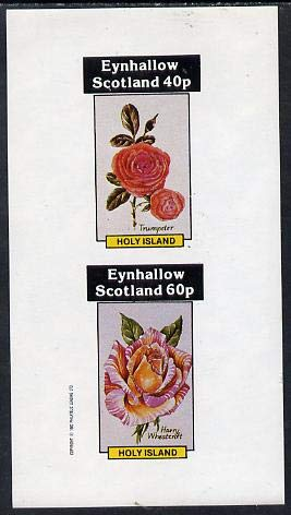 Eynhallow 1982 Roses (Trumpeter & Harry Wheatcroft) imperf set of 2 values (40p & 60p) u/m FLOWERS ROSES JandRStamps Wheatcroft Rosen