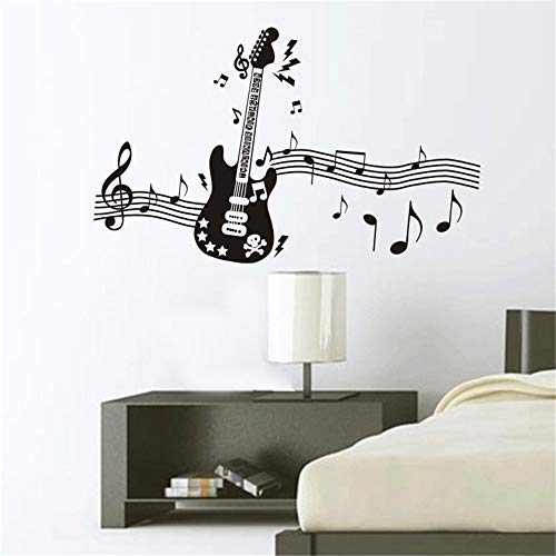 Ajcwhml Note di Musica Gitaar Muursticker Raamsticker Muur Decor Muurstickers Glass Sticker Home decoratie 80x130cm