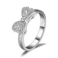 Idea Regalo - JewelryPalace Cubic Zirconia Anniversario Anello di Fidanzamento Farfalla Nodo Argento Sterling 925
