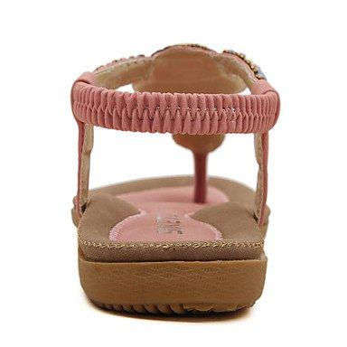 Tessuto Blu Decolleté Rosa pink almond CH Poliuretano con Da Sandali Nero PU cinturino donna Casual TOU Formale Piatto 44n1q6ZwfO