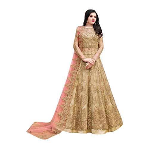 Brown Indische muslimische Braut pakistanische Bollywood Anarkali Salwar Kameez bereit, Designer Boden Touch Net schwere Stickerei 7942 zu tragen Super Net Saree