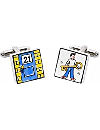 Key To The Door 21 Cufflinks By Sonia Spencer Hand Painted 21st Birthday