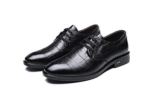 Hommes Gentleman Derby Chaussures Automne Hiver Non-slip Chaud Mariages Oxford Chaussures En Cuir Chaussures Ronds Black