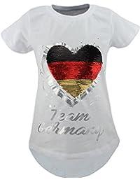 Unbekannt Deutschland Fan Kinder Mädchen Wende Pailletten Lang T-Shirt Bluse Kurzarm Tunika