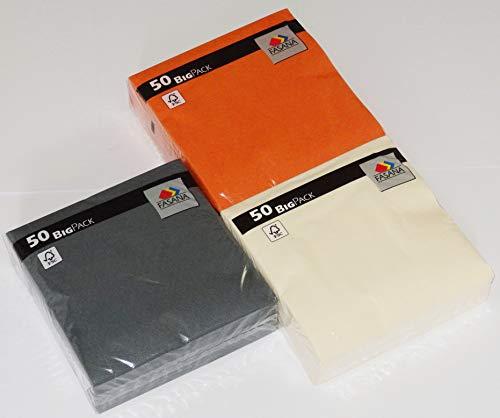 150 Stück FASANA Servietten in den Farbkombinationen - je 50 x grau 50 x creme hellgelb 50 x leuchtend orange - weiche Mundservietten - 33x33 cm - 13x13 inch - 3-lagig - 1/4 Falz - Farbkombinationen