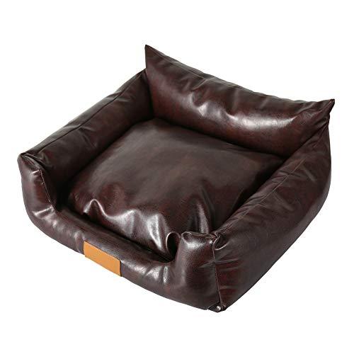 TGD Hochwertiges Rechteckiges PU-Leder-Braunes Pet-Bett Für Hunde Katzen Mit Abnehmbarem Reversiblen Kissen Wasserdicht-Wahl der Größe,50 * 40 * 22Cm (Braune Katze Bett)