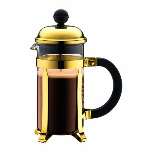 Bodum Chambord Kaffeebereiter 3 Tassen mit Metallrahmen, Chrom, Gold, 7.5 x 13.5 x 18.9 cm, 1 Einheiten