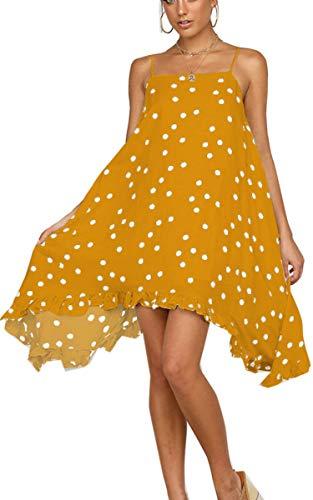 Angashion Damen Sommerkleid Swing Blumenkleid Polka Dot Strandkleid A-line Skaterkleid Unregelmäßiges Chiffon Kleid Gelb S -