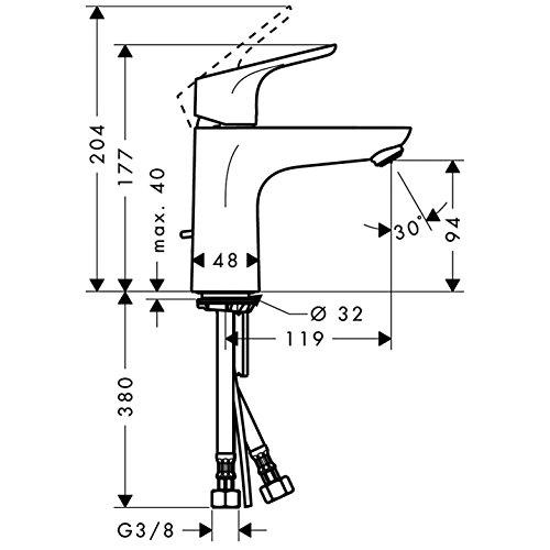 Hansgrohe – Waschtisch-Einhebelmischer, Ablaufgarnitur, Temperaturbegrenzer, Chrom, Serie Focus 100 - 6
