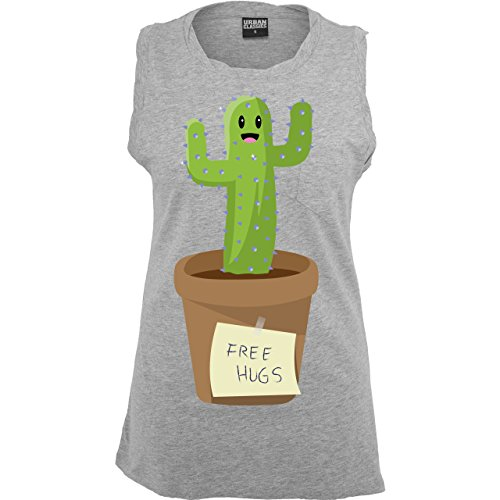Statement Shirts - Free Hugs - ärmelloses Damen T-Shirt mit Brusttasche Grau Meliert