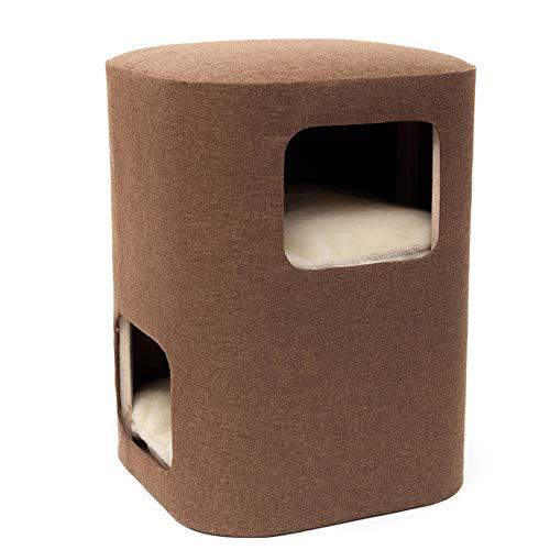 DjfLight Kratzbaum Kletterbaum,Sofa Hocker Katze Klettergerüst für Haustiere zu Spielen, Deluxe Entertainment Pet Activity Center Bett,Brown -