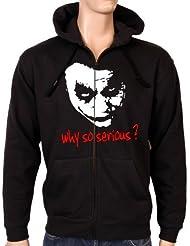 Coole-Fun-T-Shirts Sweatshirtjacke Why So Serious ? Joker Zipper Hoodie mit Kapuze - Sweat-shirt - Homme