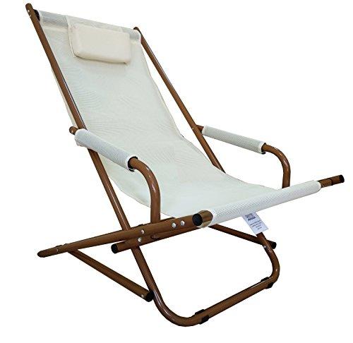Sedia dondolino spiaggia giardino dondolo textilene marrone beige
