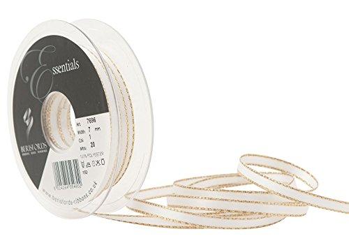 Berisfords - Nastro in raso di poliestere con bordo in filo dorato, 7 mm, colore: bianco