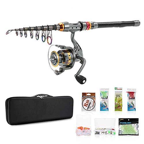 Cool wearer kit completo canna da pesca spinning mulinello gear set di aste telescopiche canna da pesca con bobina 100m linea di pesca esche ganci, black,3.0 m
