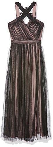 Little Mistress Mesh Tulle And Applique Dress, Vestito Donna, (Black/Mink), 34
