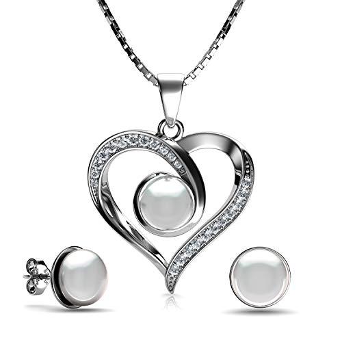 DEPHINI - Perlenkette & Perlen-Ohrringe Set - 925 Sterlingsilber - echte Perlen-Ohrringe & Perlen-Anhänger - feines Schmuckset für Frauen - 45,7 cm Premium rhodiniert - Geschenke für Frauen